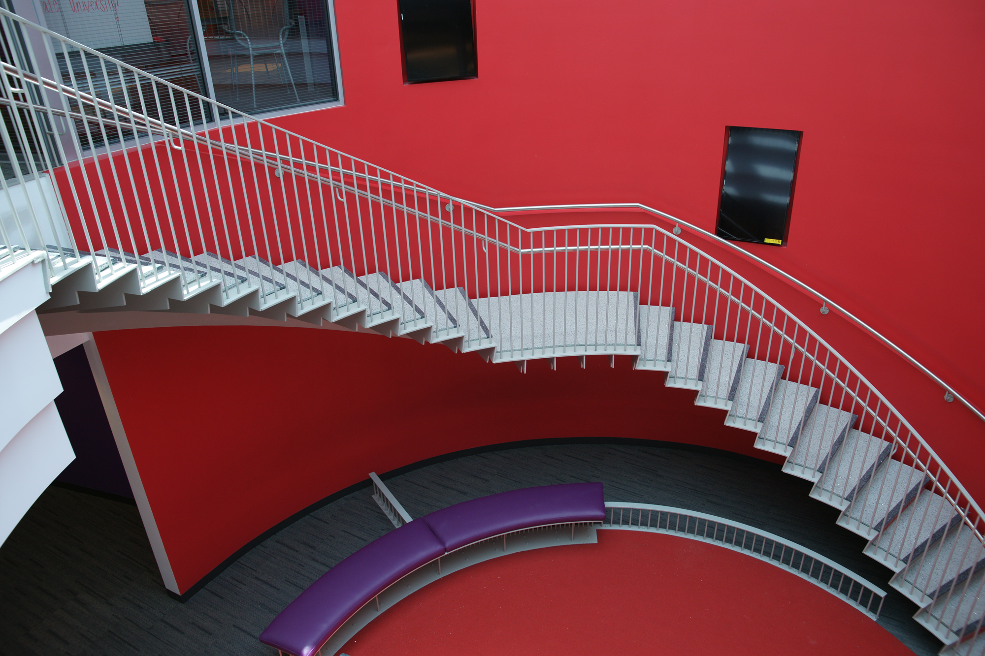 curved terrazzo staircase at NC State University Student Talley Center