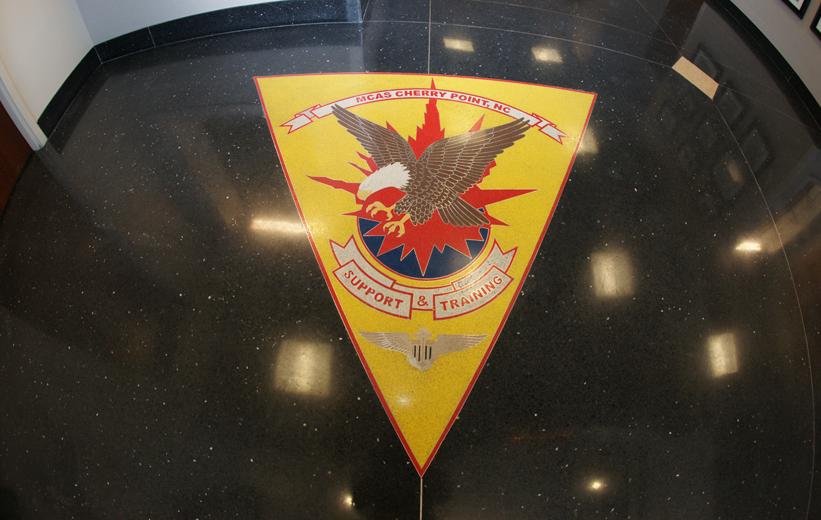 Black terrazzo flooring eagle logo