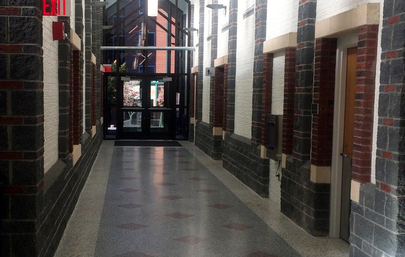 Terrazzo flooring in hallway corridor of ASU Trivette Dining Hall
