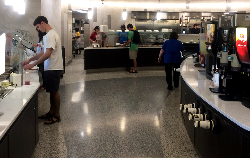 Students eating lunch at ASU Trivette Dining Hall, covered in epoxy terrazzo flooring
