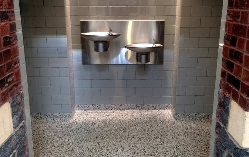Terrazzo flooring in restroom area of ASU Trivette building