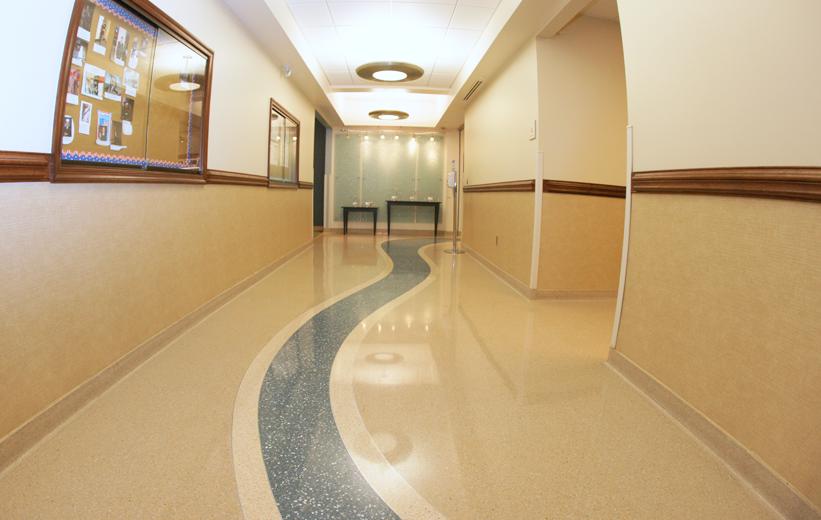 Terrazzo Wayfinding Design at Alamance Medical Center