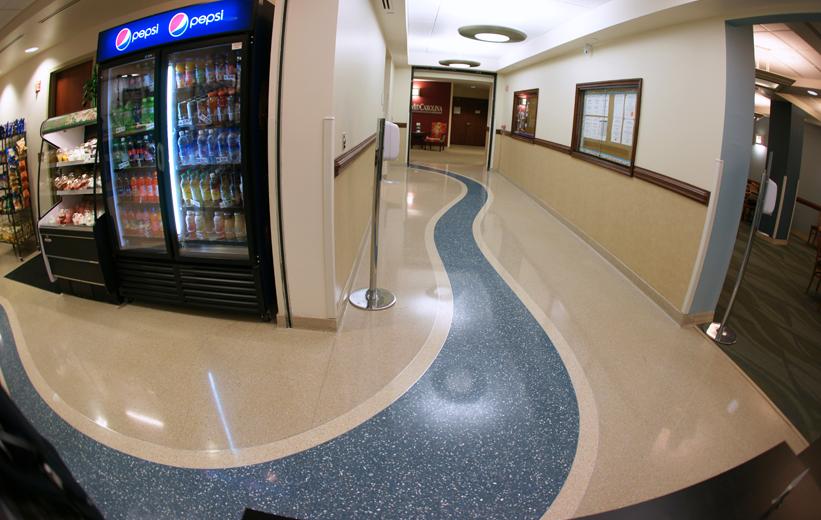 Blue Terrazzo Wayfinding Hospital Flooring