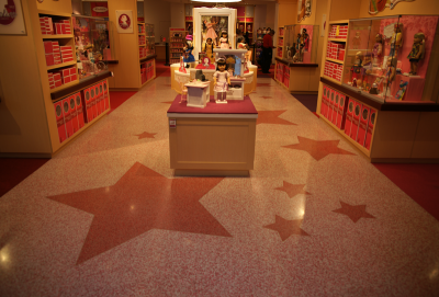 American Girl Charlotte at Southpark Mall with beautiful terrazzo graphics and flooring