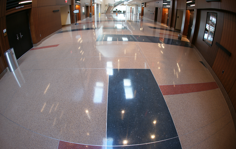 Terrazzo flooring covers the hallways of Bowie State University