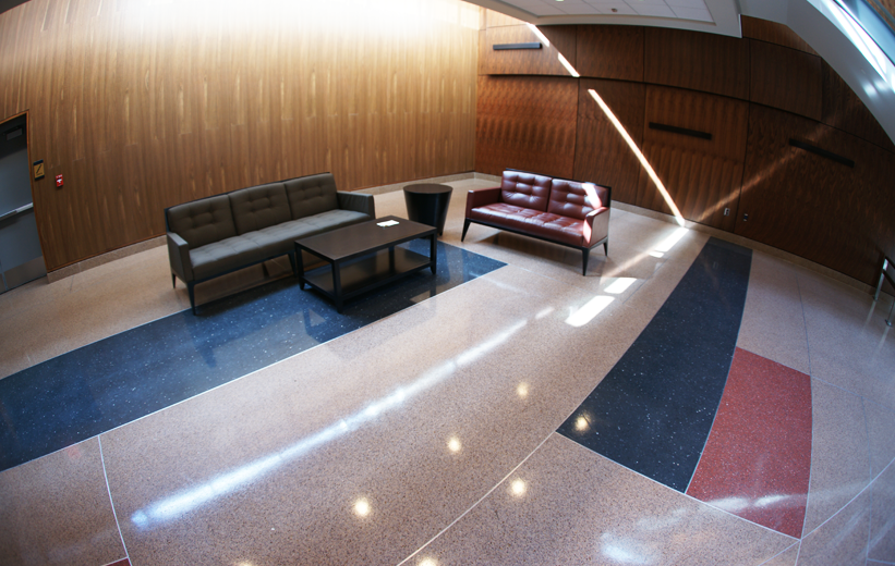 Blue and Red Epoxy Terrazzo Floors at Bowie State University