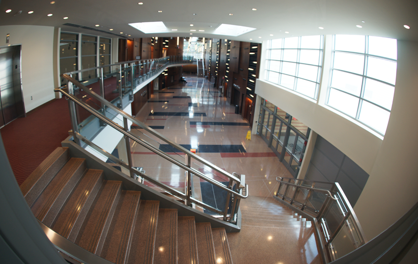 Gray Precast Terrazzo Stairs with decorative terrazzo layout at Bowie State University