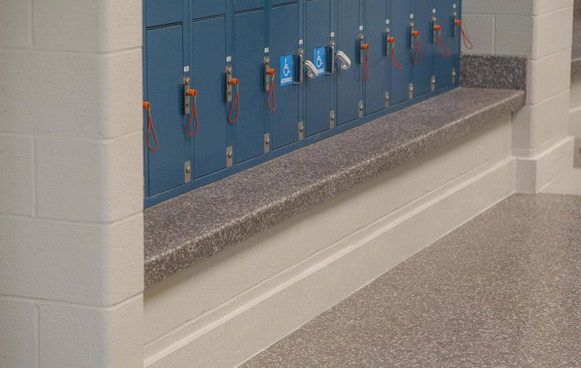 Terrazzo Bench and School Locker