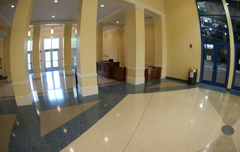 Blue, White and Gray Terrazzo Design Pattern at Christopher Newman University
