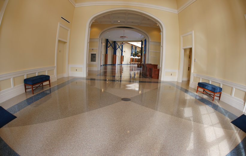 Terrazzo Flooring in School's Hallway at Christopher Newman University