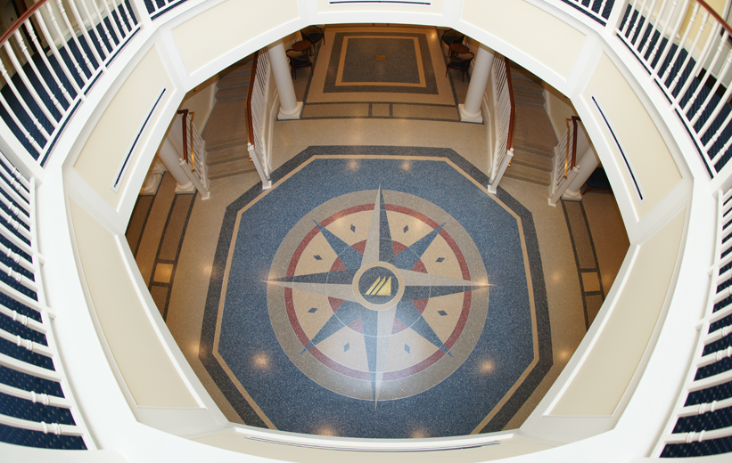 Terrazzo Compass Logo Design at Christopher Newport University