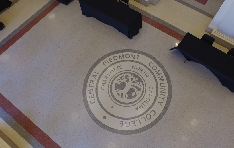 Aerial View of the CPCC emblem terrazzo design