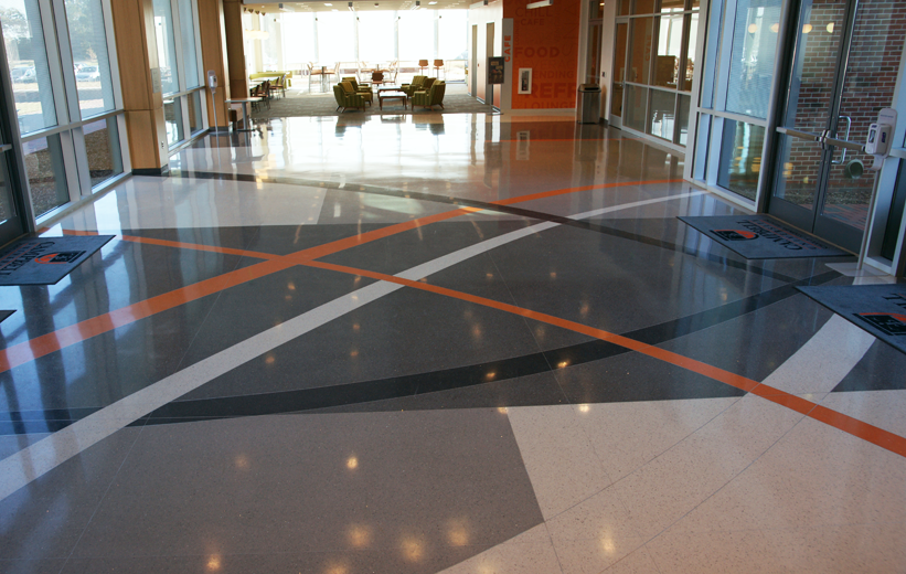Intersected line design in the terrazzo flooring at Campbell University