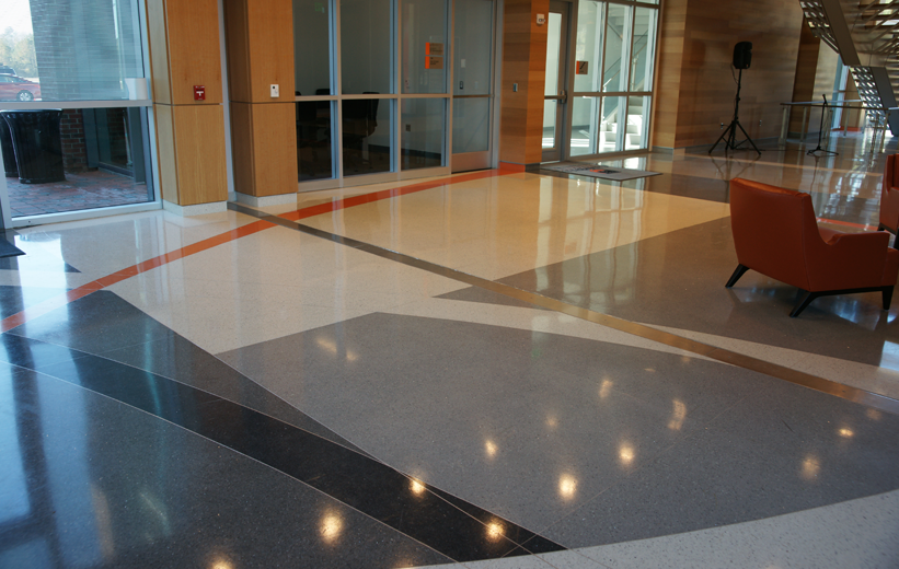 Decorative terrazzo pattern at Campbell University