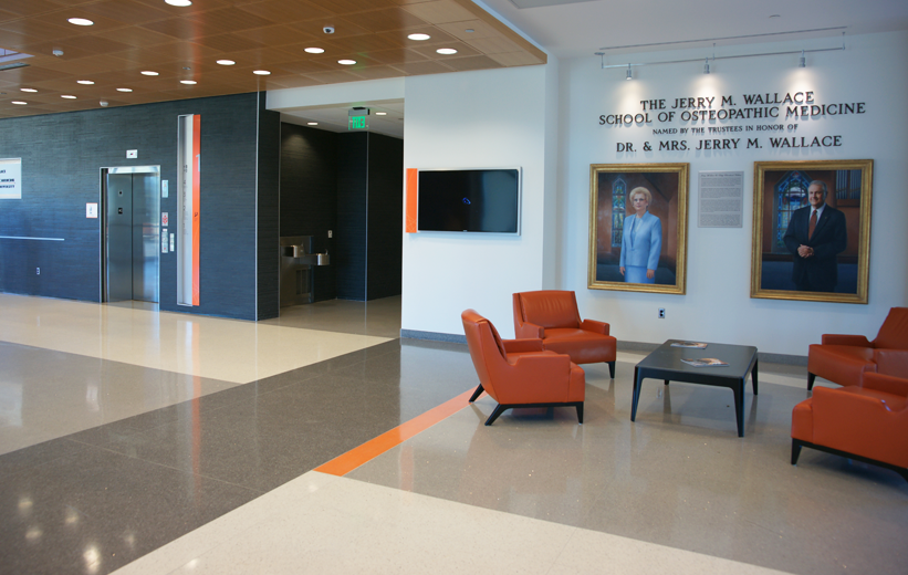 Gray and orange epoxy terrazzo floors at Campbell University