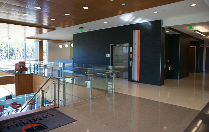 Epoxy Terrazzo flooring by the elevator at Campbell University