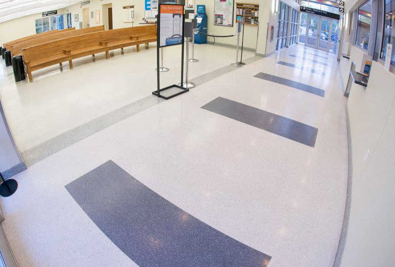 Cary Train Station with white epoxy terrazzo floors
