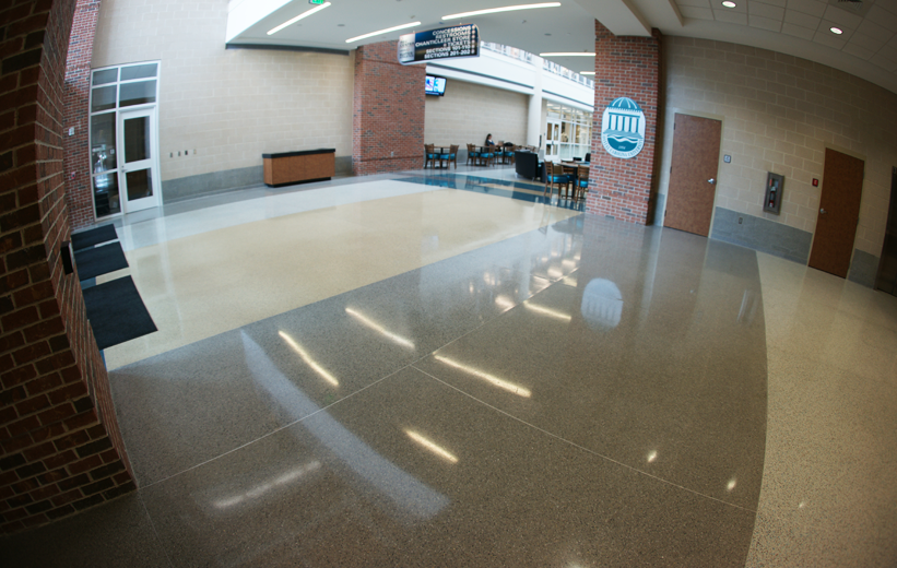 White and gray epoxy terrazzo flooring at Coastal Carolina University