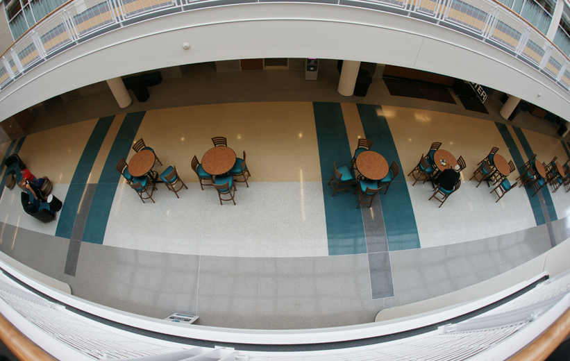 Aerial view of terrazzo flooring at Coastal Carolina University