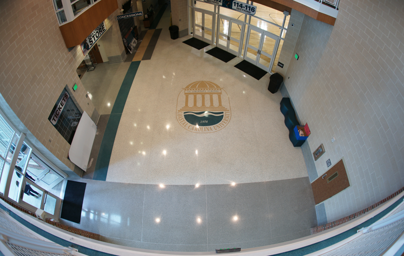 Aerial view of the Coastal Carolina University Athletic Center with terrazzo logo design