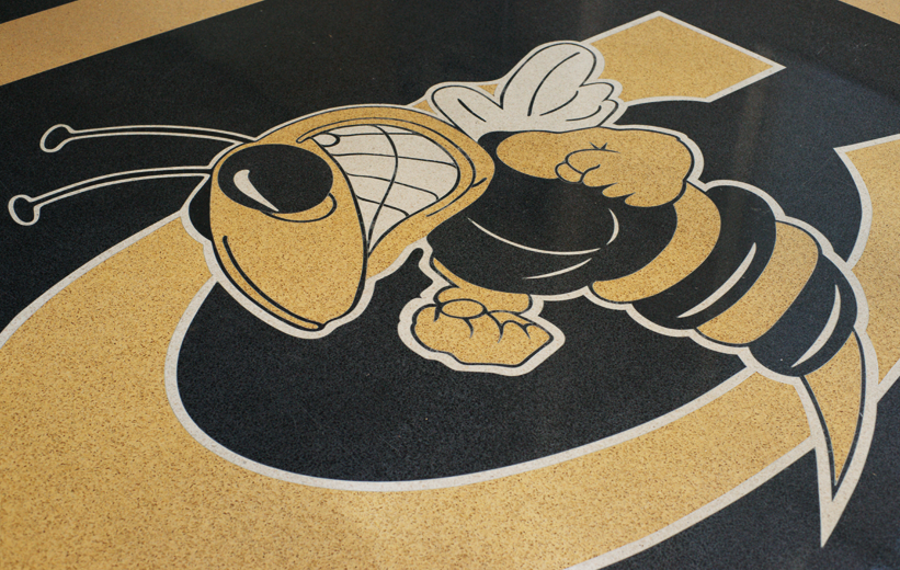Cook County High School Terrazzo Flooring with Yellowjacket Design