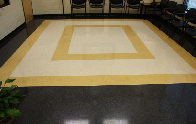 Black and Yellow Terrazzo Flooring at Cook County High School