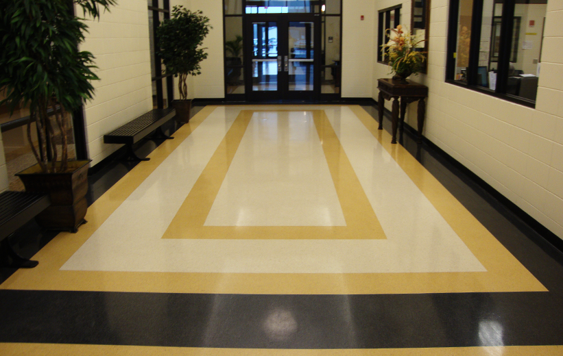Terrazzo flooring school design at Cook County High School