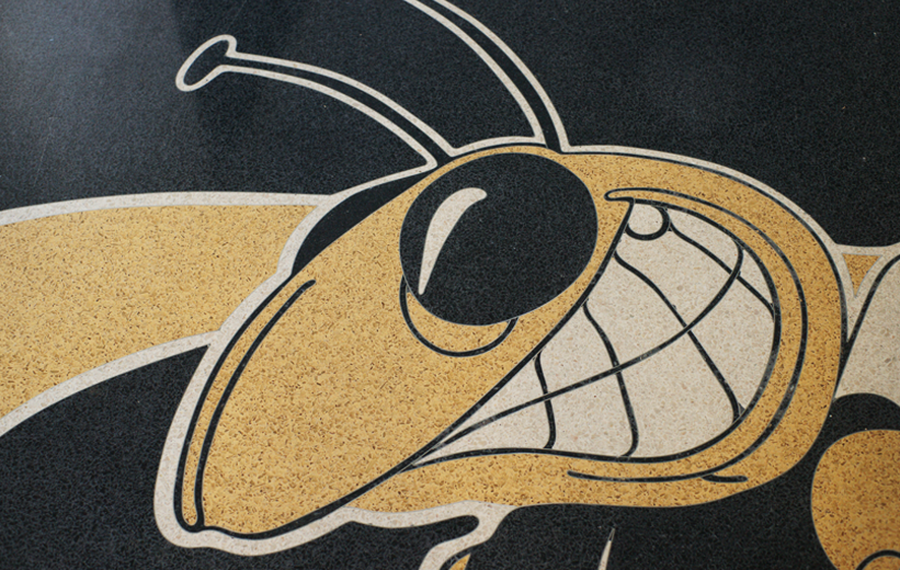 yellowjacket terrazzo logo at Cook County High School