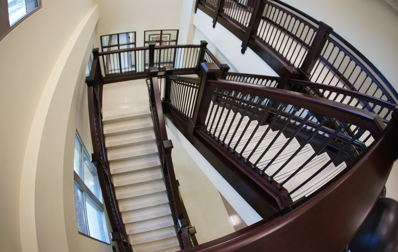 White Terrazzo Stairs at Dawson County Courthouse