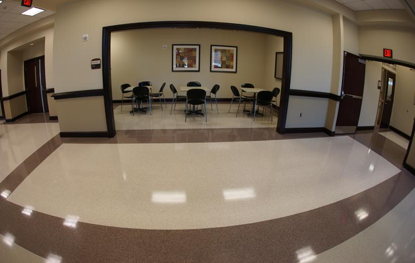 Shiny terrazzo flooring at Dawson County Courthouse