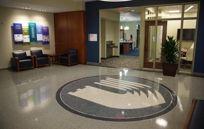 Terrazzo logo installed at Duke School of Nursing in Durham, NC
