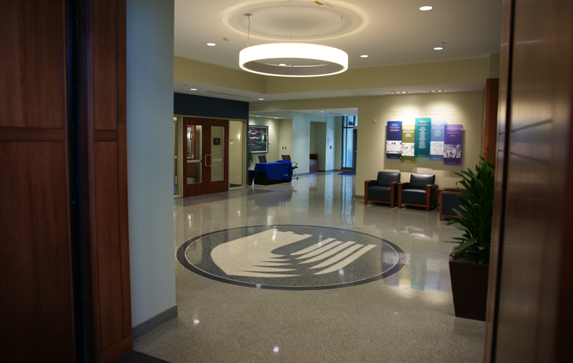 Terrazzo logo is placed in the center of the office lobby at Duke School of Nursing building