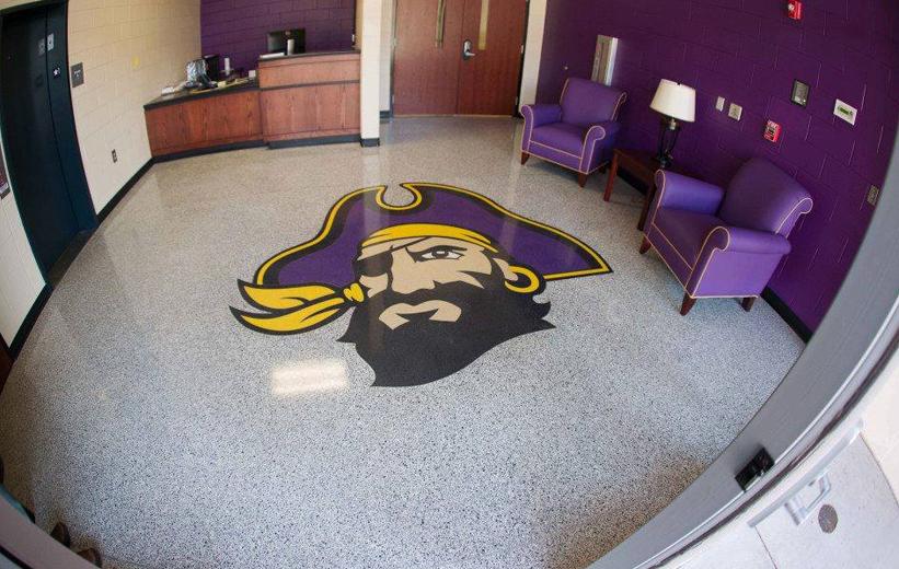 East Carolina University Pirate terrazzo logo with purple interiors