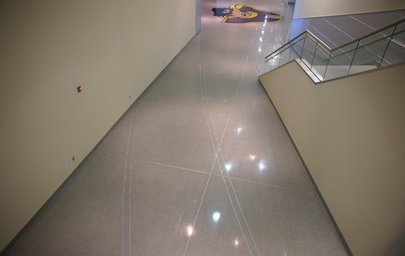 Divider strip layout of the terrazzo floors at East Carolina University