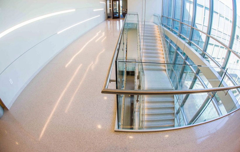 Seamless white terrazzo floors with precast treads and risers at Elizabeth City State University