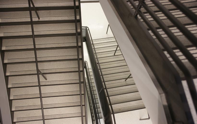 White precast terrazzo treads and risers at Embry Riddle Aeronautical University
