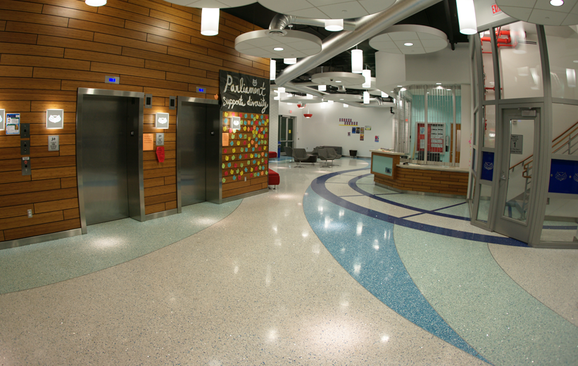 Colorful epoxy terrazzo floor at dorm hall at Florida Atlantic University