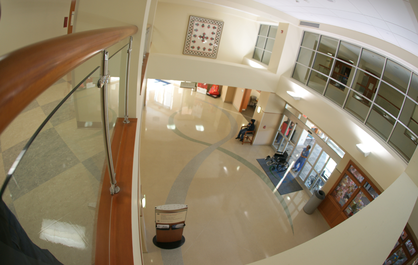 Looking down at the terrazzo floor design at Forsyth Medical Center
