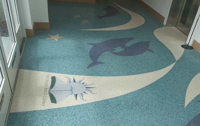 epoxy terrazzo design at Ft. Myers Beach Library