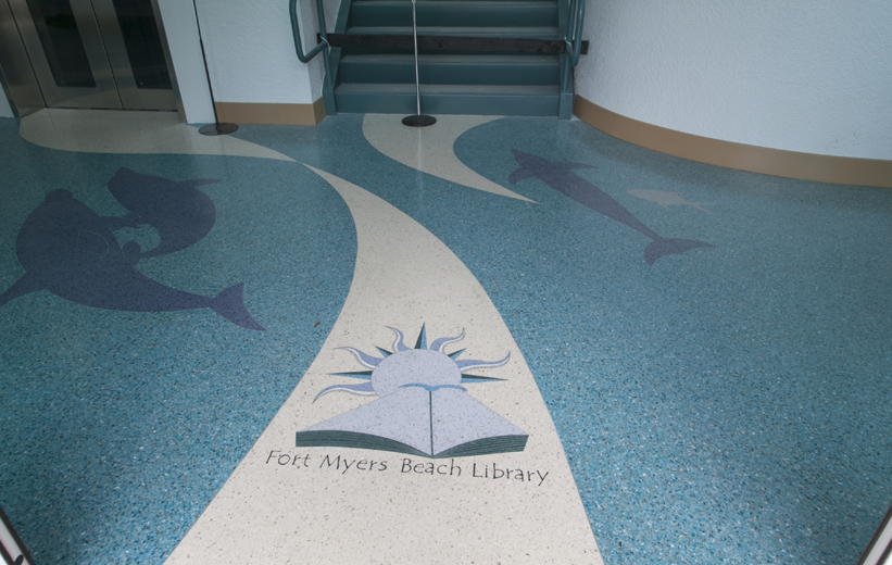 Terrazzo Floor Design at entrance of Ft. Myers Beach Library