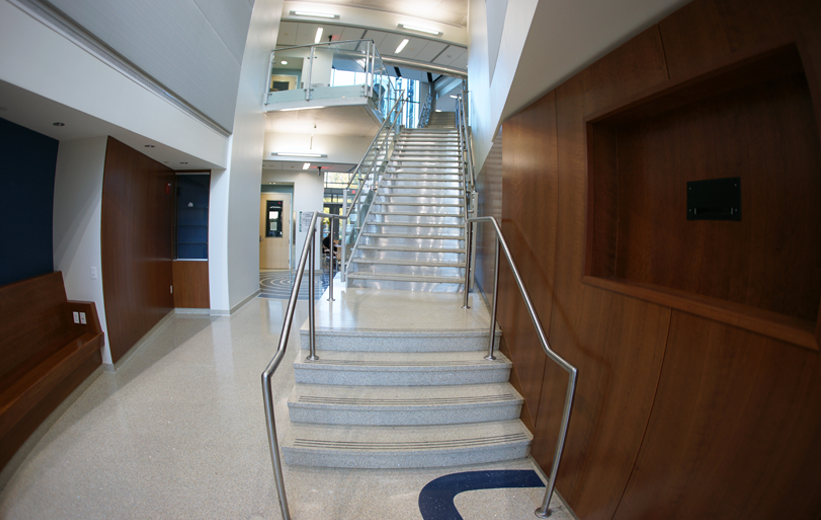 Precast terrazzo treads and riser combination with metal guard railing at George Mason University