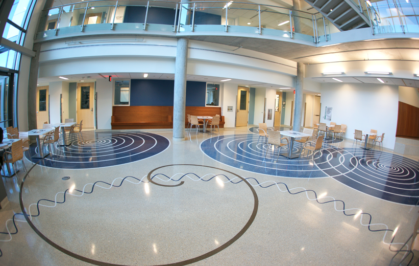 Decorative terrazzo floor in the entrance lobby of George Mason University Science Center