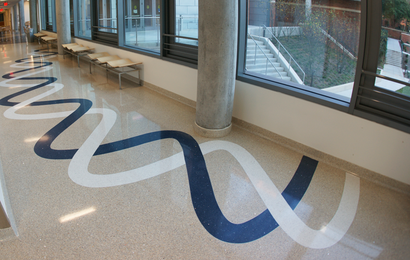 Blue and White Epoxy Terrazzo waves at George Mason University