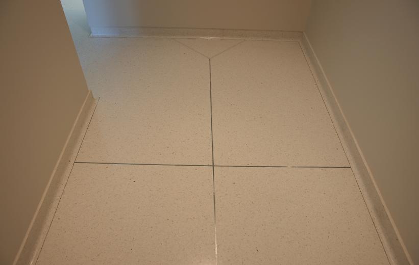 Seamless white epoxy terrazzo flooring at Georgia Bioscience Training Center