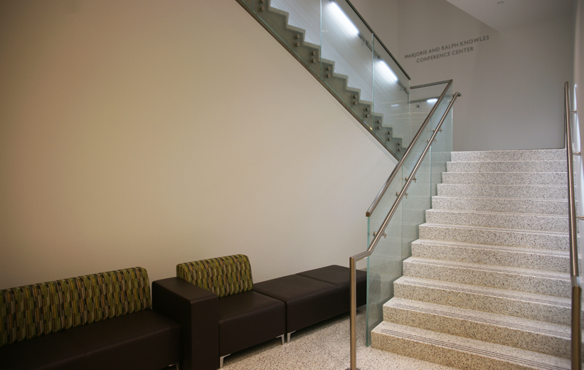 White Precast Terrazzo Stair Treads at Georgia State University