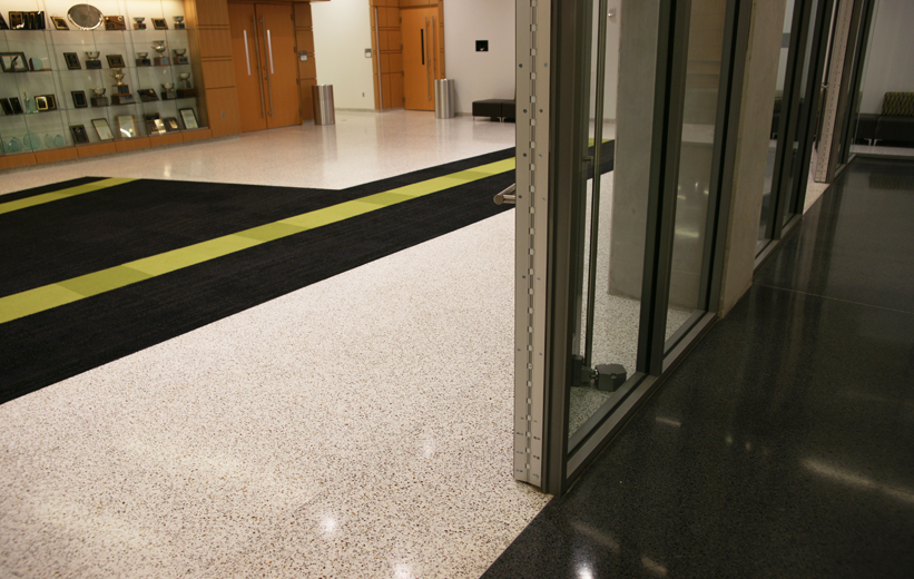 White and black thin-set epoxy terrazzo flooring at Georgia State University in Atlanta, Georgia