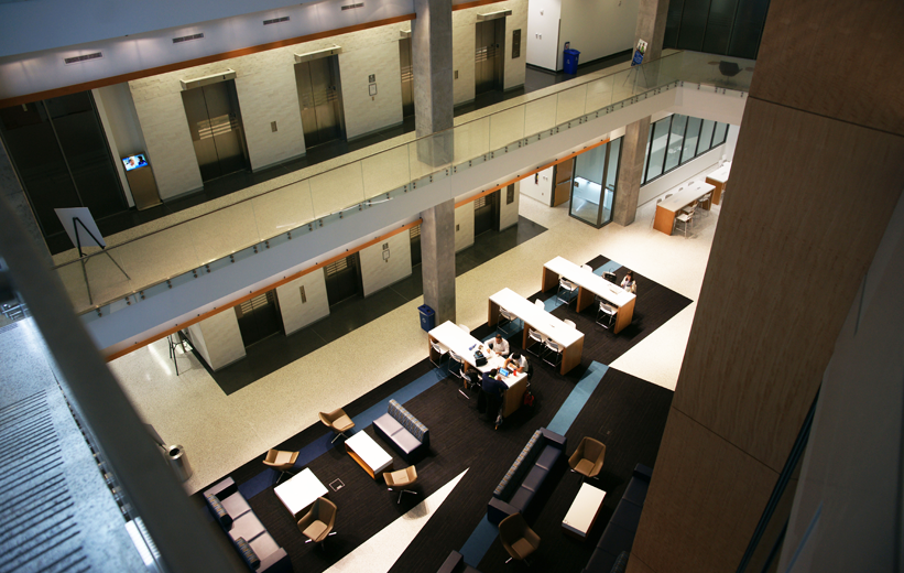 Students studying in the new Humanities Law Building at GSU installed with terrazzo flooring