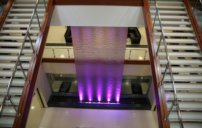 Terrazzo Self Supporting Stair Tread and Purple LED lights at High Point University
