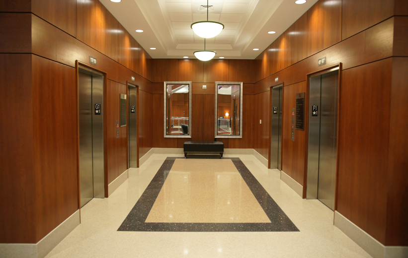 Terrazzo design adjacent to High Point University elevators