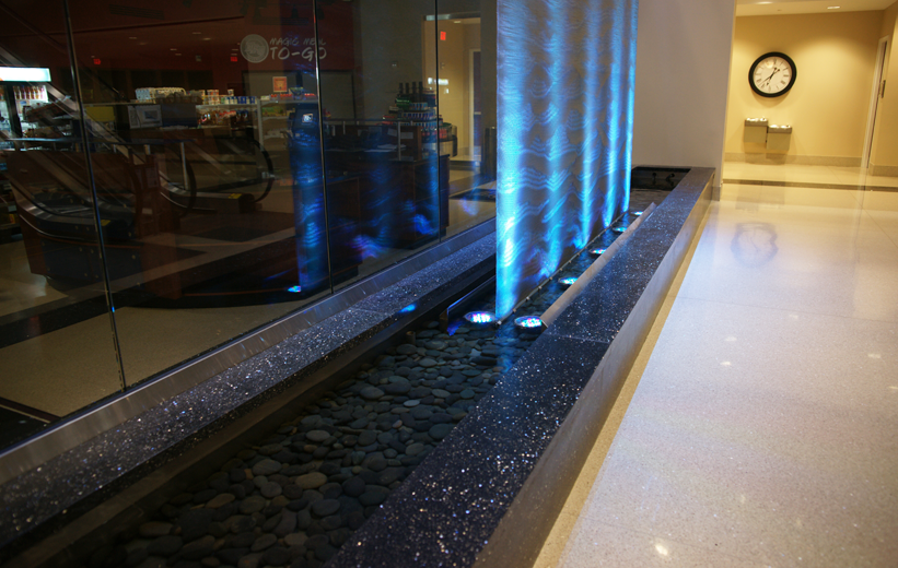 Precast terrazzo water fountain with LED lights at High Point University